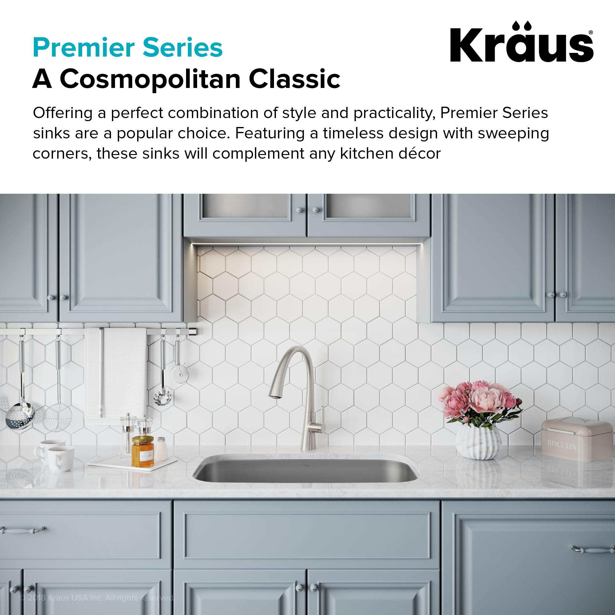 Kraus Premier 31 Inch 16 Gauge Undermount Single Bowl Stainless Steel Kitchen Sink Walmart Com Walmart Com