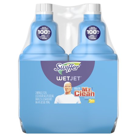 Swiffer WetJet Hardwood Mopping and Cleaning Solution Refills, All Purpose Cleaning Product, with the Power of Mr. Clean, Lemon, 2 count, 1.23 L