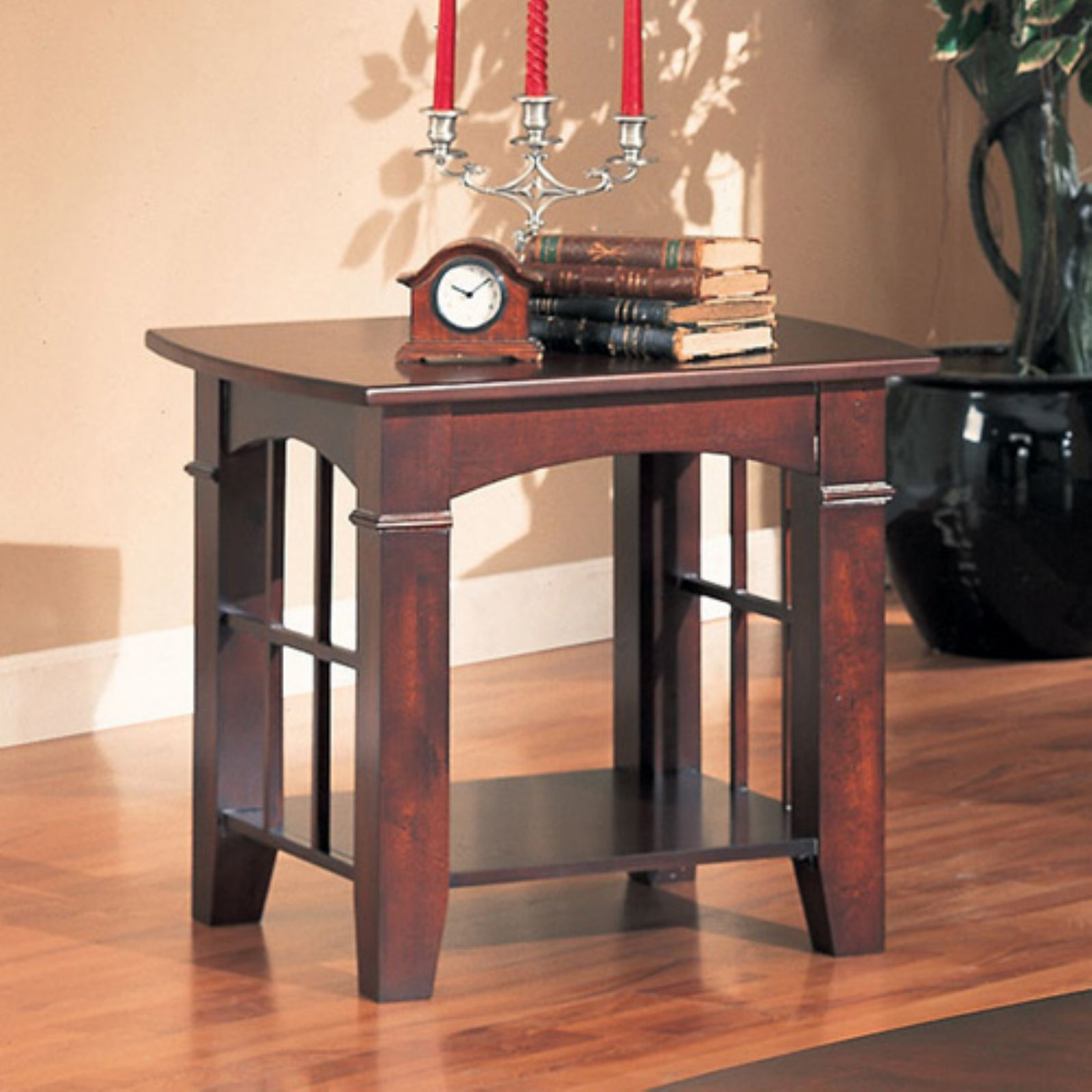 Coaster Traditional End Table, Cherry Finish