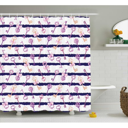 Girly Decor Shower Curtain Old Medieval Vintage Keys With Ribbons Diamonds Striped Pattern French