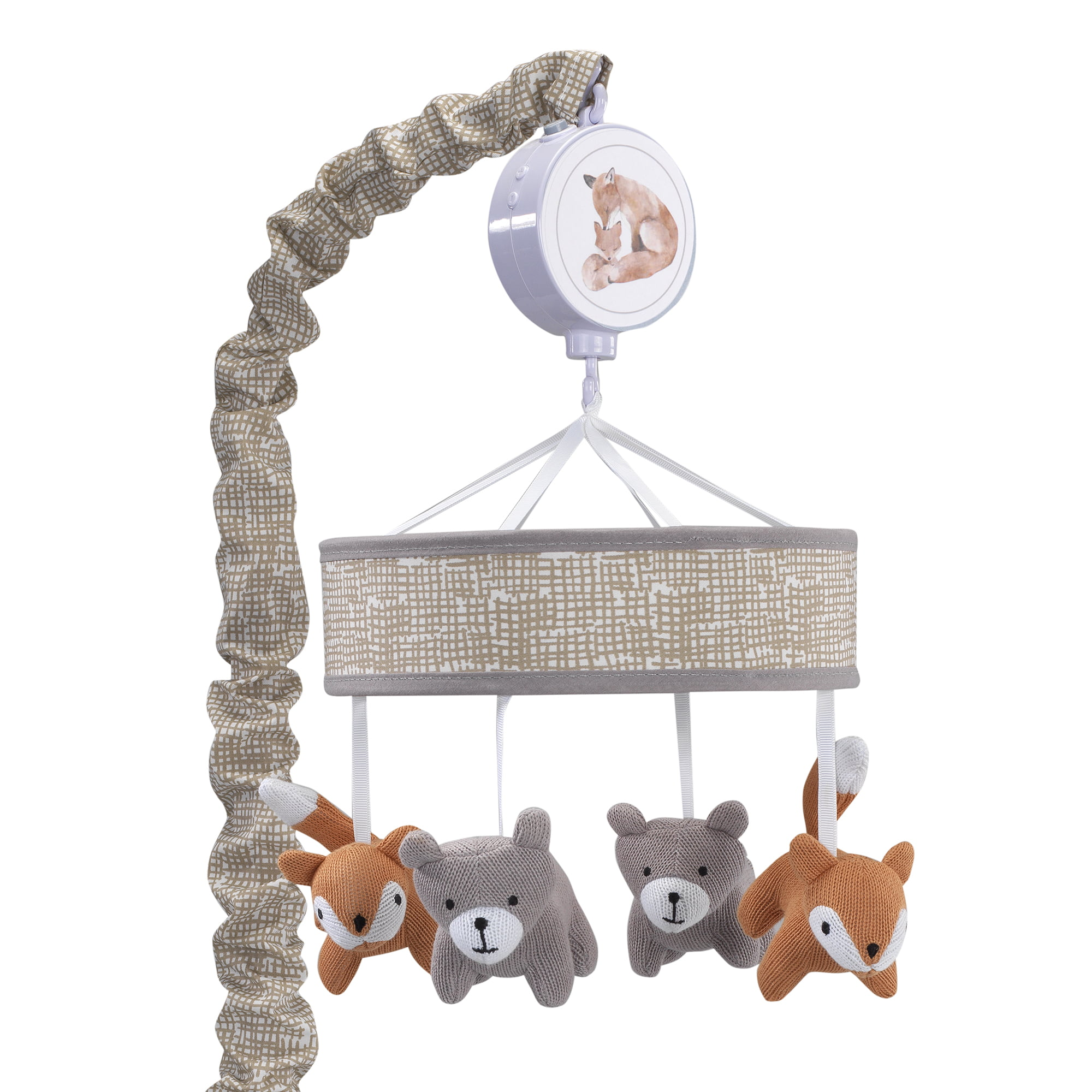 Lambs & Ivy Painted Forest Gray Beige Fox and Bear Baby Crib Musical Mobile by Lambs %26 Ivy