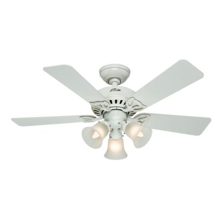 Hunter Fan Company 53081 The Beacon Hill 42   Ceiling Fan With 5 White Light Oak Blades With Light Kit  White