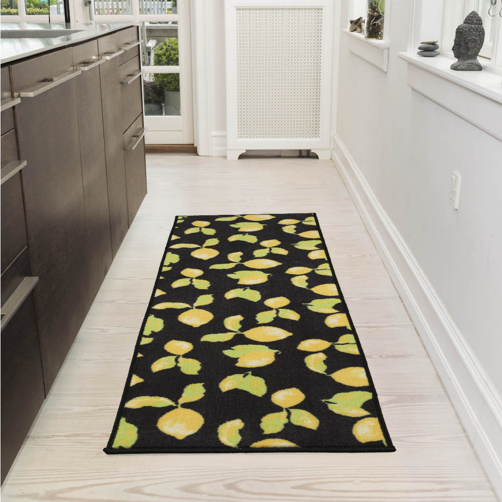 Ottomanson Lemon Collection Contemporary Black Lemons