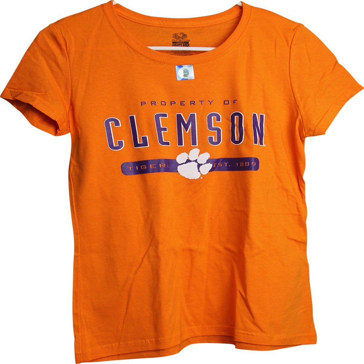 Clemson Tigers Est 1889 Property of Clemson Ladies Women's Orange T-Shirt (Medium)