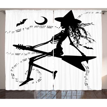 Music Curtains 2 Panels Set, Witch Flying on Electric Guitar Notes Bat Magical Halloween Artistic Illustration, Window Drapes for Living Room Bedroom, 108W X 90L Inches, Black White, by Ambesonne](Electric Chair Halloween Animatronic)