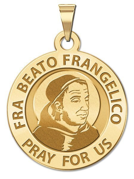 Fra Beato Frangelico Religious Medal 1 Inch Size of a Quarter Solid 14K Yellow Gold by