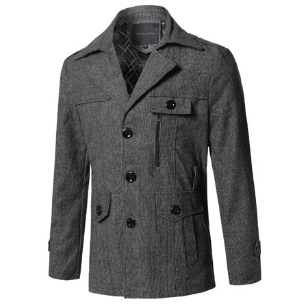 FashionOutfit Men's Classic Micro Checked Detachable Belt Coat Classic Coat Of Arms