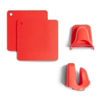 Mainstays Silicone Grabber and Trivet, Red, Set of 4, Available in Multiple Colors