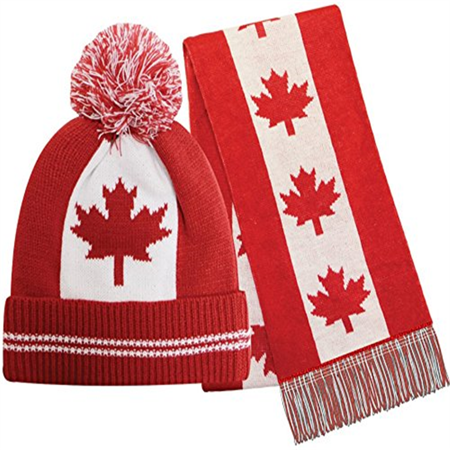 Canada Flag Striped Matching Winter Cap Hat and Scarf Set - Walmart.com 493237c1b15