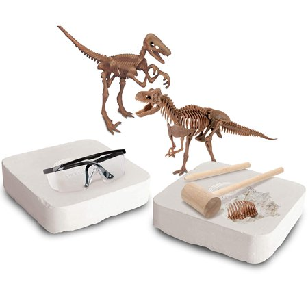 Discovery MINDBLOWN Toy Dinosaur 3D Fossil Skeleton Excavation Kit, Includes 15 Pc T-Rex/10 Pc Velociraptor Replica Puzzle Bones, Tool Kit W/Hammer, Chisel, and Brush, an Educational STEM Gift