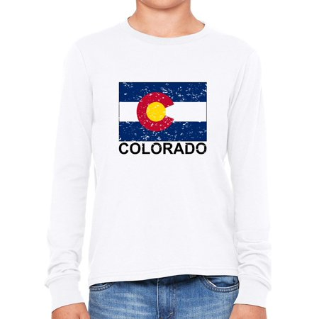 Colorado State Flag - Special Vintage Edition Boy's Long Sleeve T-Shirt