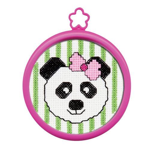 """My 1st Stitch Panda Mini Counted Cross Stitch Kit-3"""" Round 14 Count"""