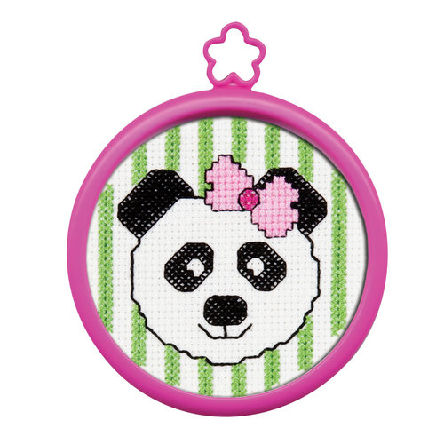 "My 1st Stitch Panda Mini Counted Cross Stitch Kit-3"" Round 14 Count"