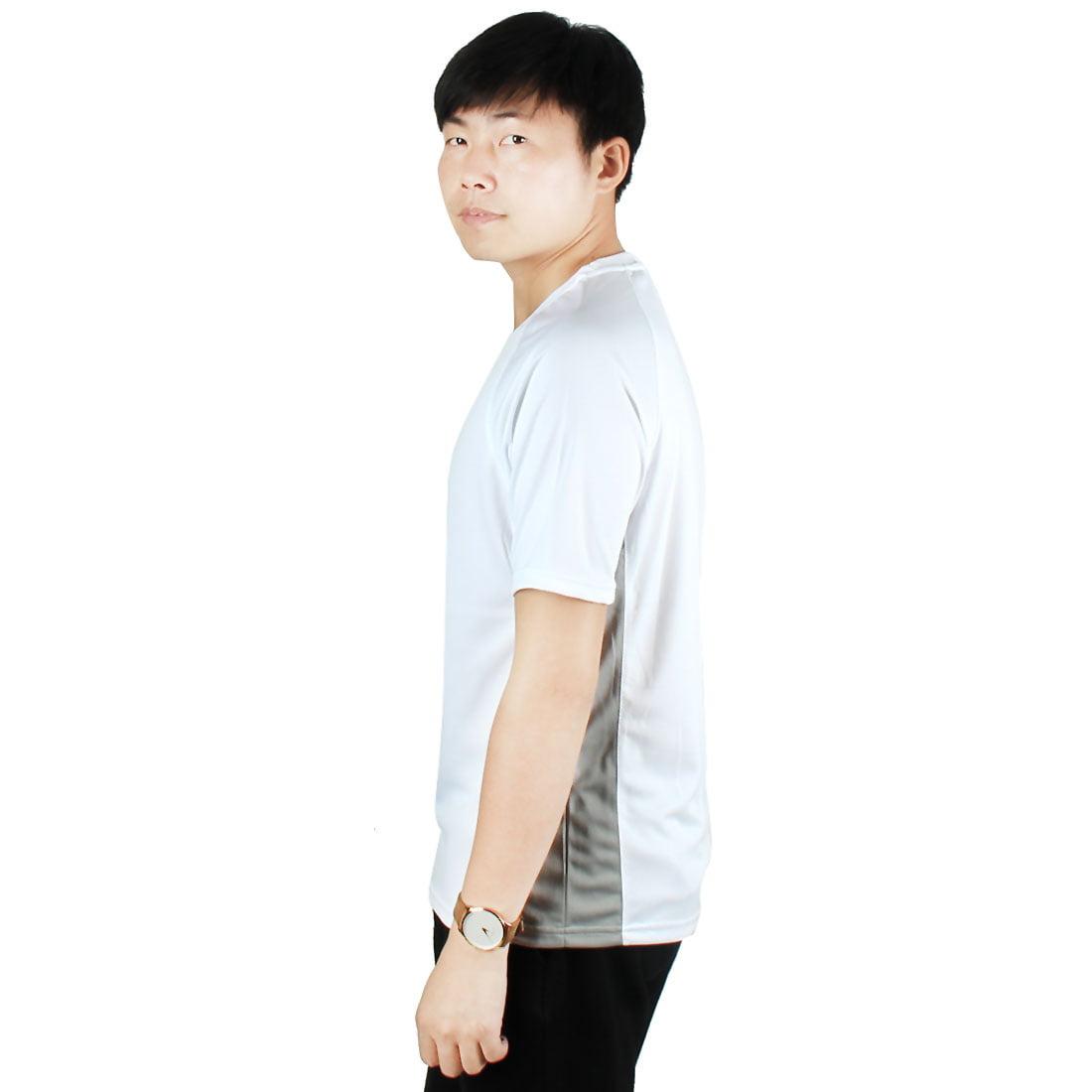 Men Exercise Marathon Polyester Short Sleeve Sports T-shirt White L/L (US 42) - image 5 de 6