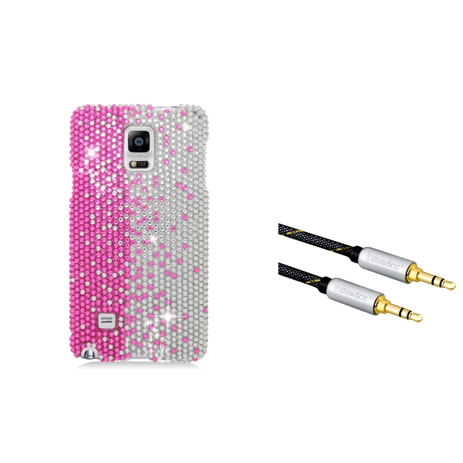 Insten Hard Rhinestone Case For Samsung Galaxy Note 4 - Hot Pink/White (with 3.5mm Universal Audio Cable M/M)