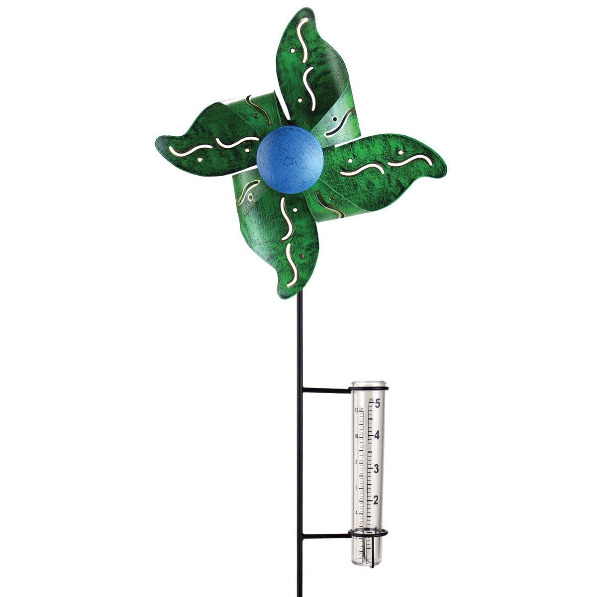 Exhart Green Metal Kinetic Pinwheel With Rain Gauge by Overstock