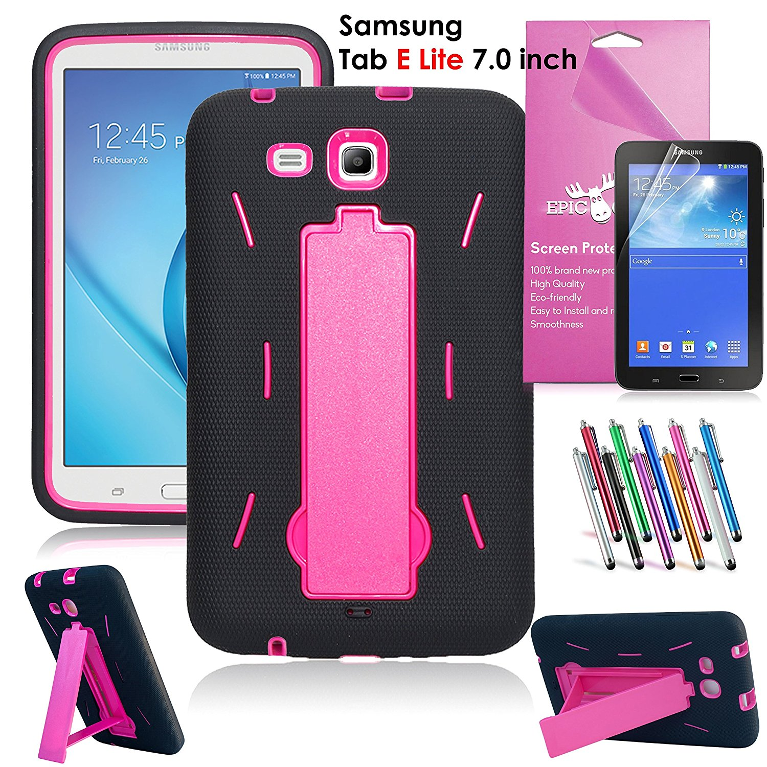 Samsung Galaxy Tab E Lite 7.0 Case, EpicGadget Heavy Duty Rugged Impact Hybrid Case with Build In Kickstand Protection Cover For Galaxy Tab E Lite 7 Inch Tablet T113 + Screen Film + Pen (Black/Pink)
