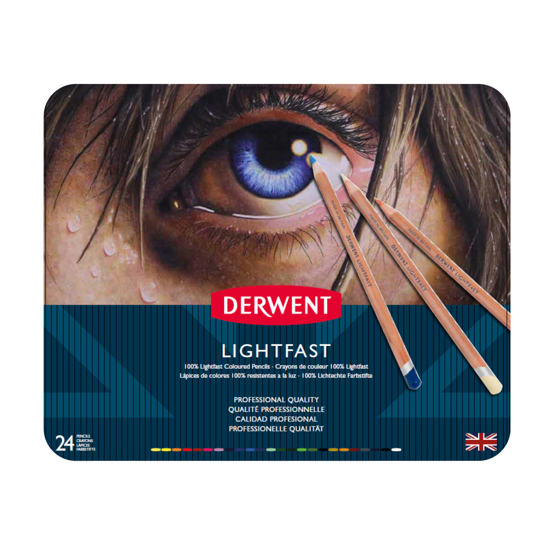 Derwent Lightfast Pencil Set, 24-Color Tin Set