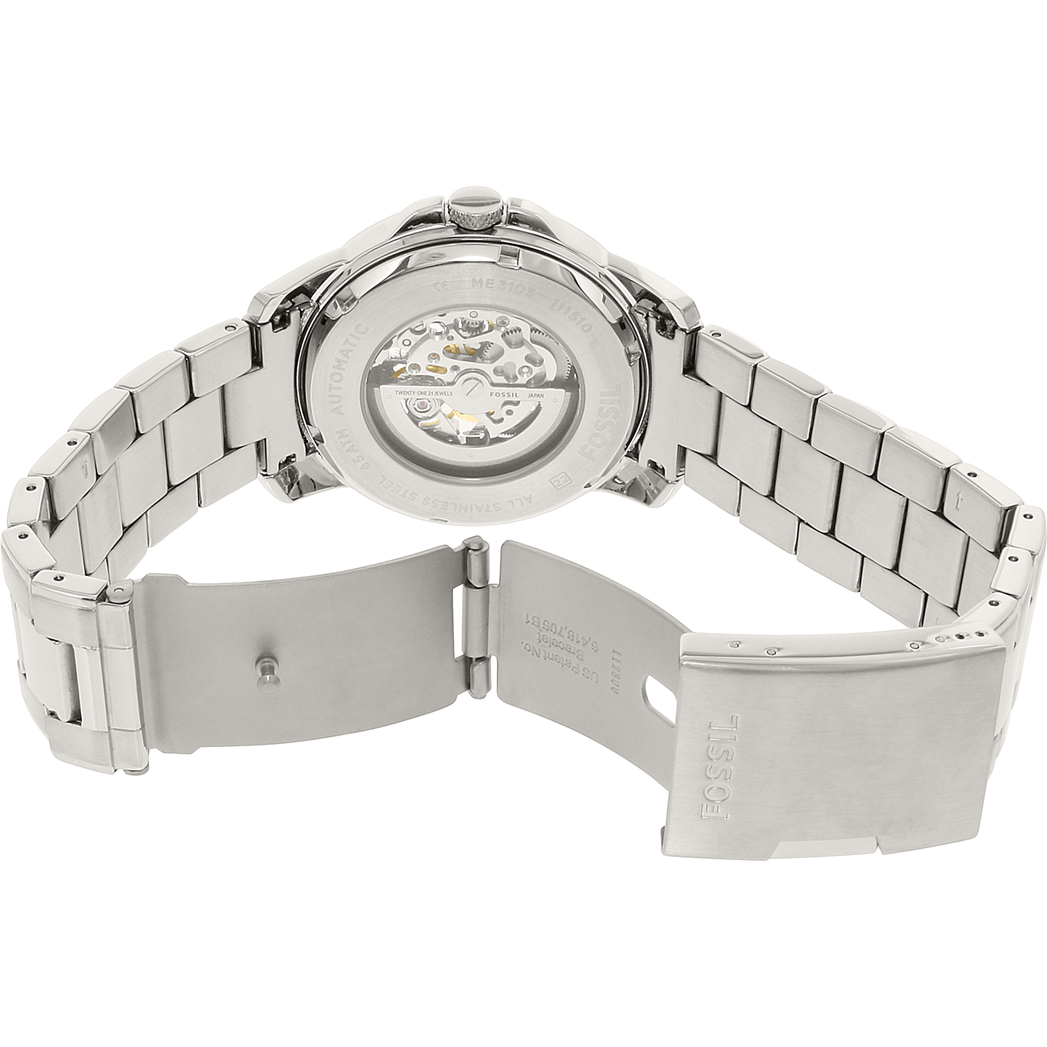 Fossil Men's Grant ME3103 Silver Stainless-Steel Plated Japanese Automatic Dress Watch - image 1 de 3