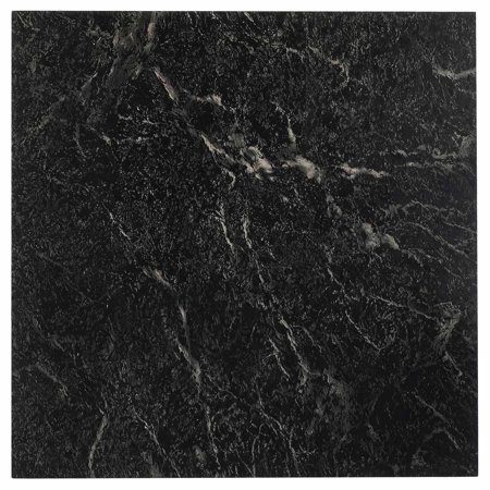 Nexus black with white vein marble 12x12 self adhesive for Black vinyl floor tiles