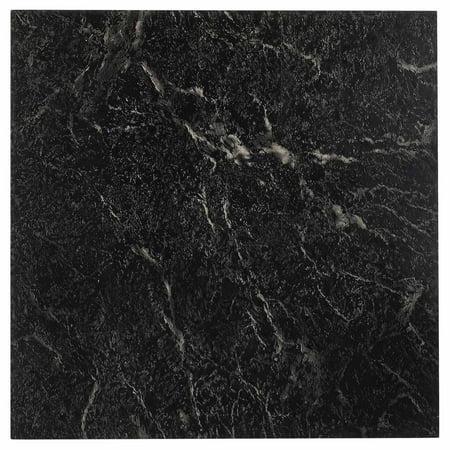 Nexus black 12x12 self adhesive vinyl floor tile 20 for 12x12 marble floor tiles