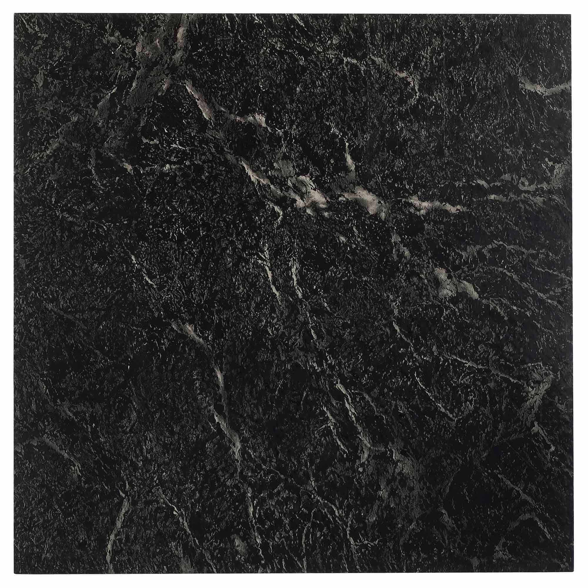 NEXUS Black With White Vein Marble 12x12 Self Adhesive Vinyl Floor Tile    20 Tiles/
