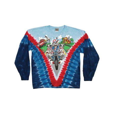 - Grateful Dead Men's  Moto Sam Tie Dye  Long Sleeve Multi