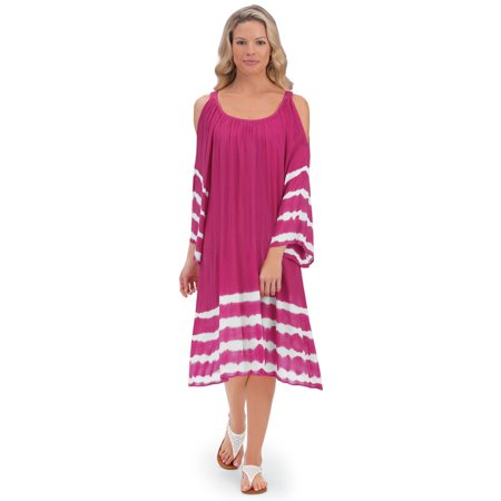 Women's Breezy Woven Tie Dye Cold Shoulder Cut Out Summer Dress, Medium, Plum - Sugar Plum Fairy Dress