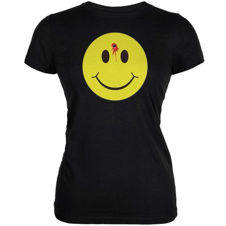 Junior Faces - Smiley Face Bullet Hole Black Juniors Soft T-Shirt