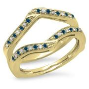 030 carat ctw 14k gold round blue white diamond ladies wedding enhancer guard - Wedding Ring Enhancers