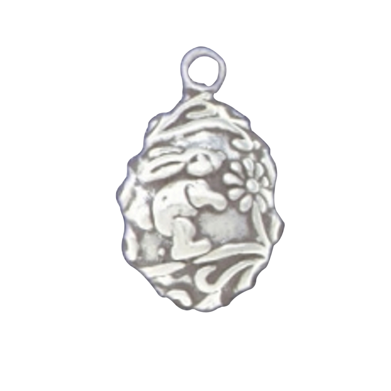 Sterling Silver Girls .8mm 3D Partial Easter Egg Pendant Necklace With Bunny Rabbit And Flowers