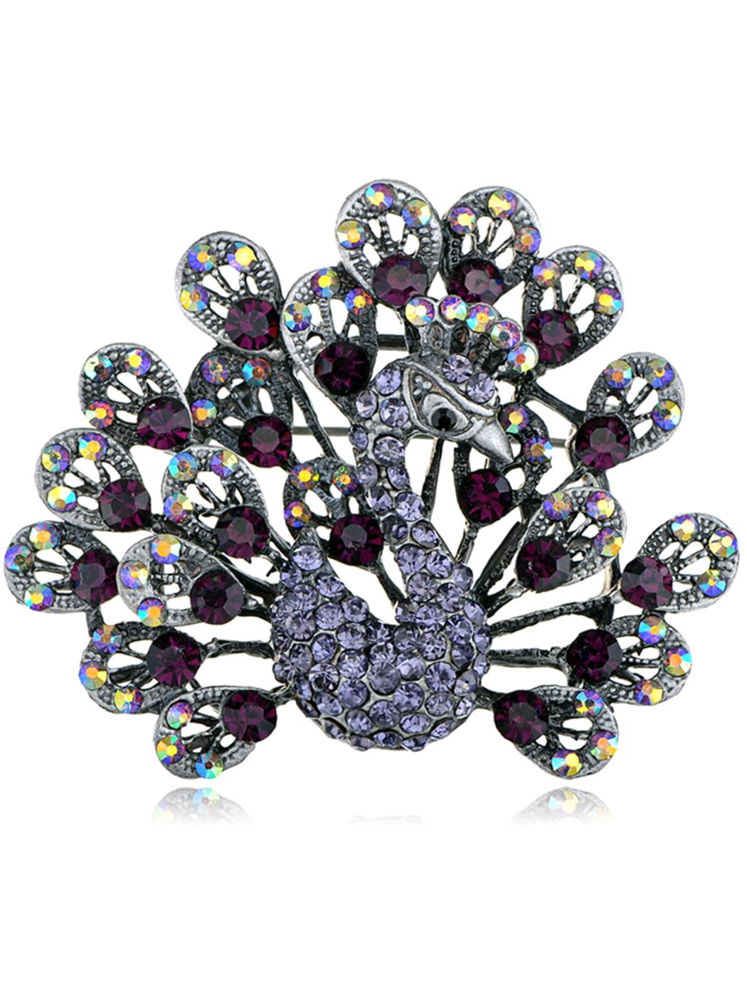 Dark Purple Crystal Rhinestone Peafowl Tail Feathers Peacock Brooch Pin by