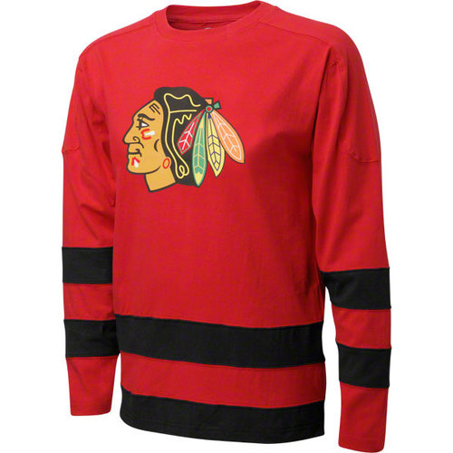 NHL - Chicago Blackhawks Long Sleeve T-Shirt: Knights Apparel Color Blocked Primary Logo Long Sleeve T-Shirt