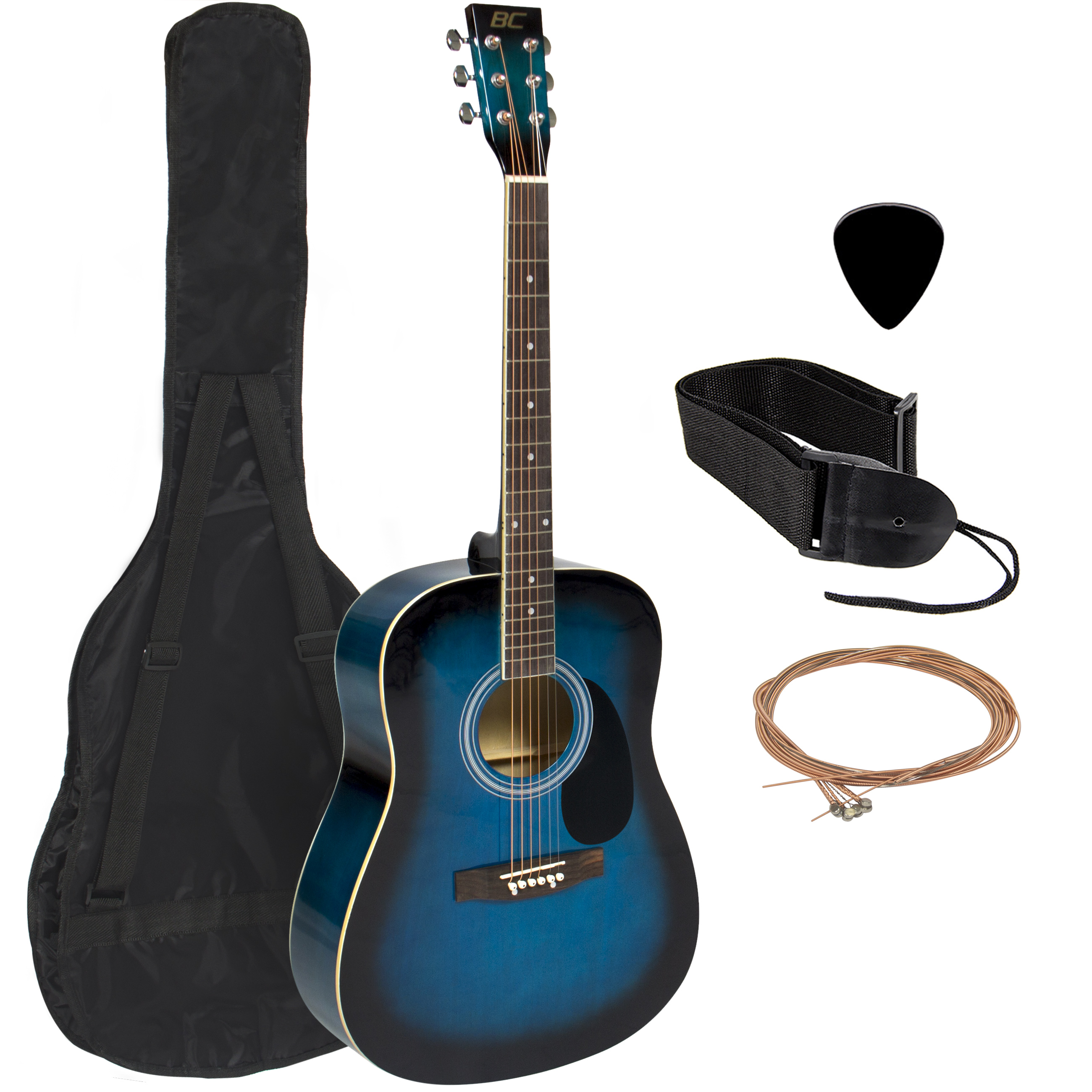 """Acoustic Guitar 41"""" Full Size Adult Blue Includes Guitar Pick & Accessories"""