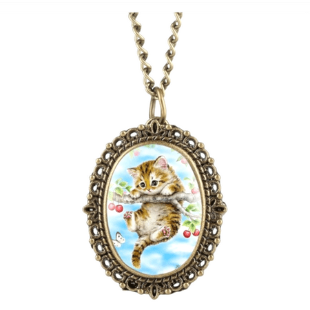 Kitty Cat Hanging on a Cherry Tree Branch Pocket Watch Locket Anti-Tarnish Necklace Watch NW-26-CAT
