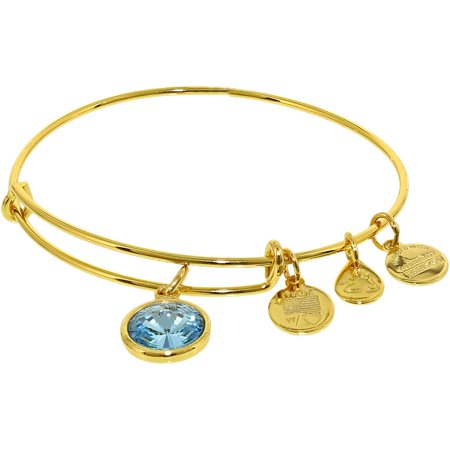 Alex And Ani Women's Crystal Birthstone March Aquamarine Yellow Gold Cubic-Zirconia Charm Bracelet