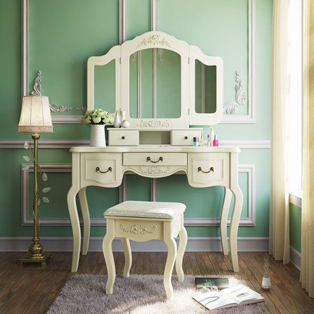 Tribesigns Vanity Dressing Table Set Makeup Desk with Stool & Mirror ...