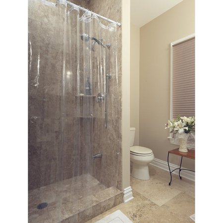 72 X Ottomanson Durable Heavy Duty 10 Gauge Clear Shower Curtain Liner With Rust Proof Metal Grommets