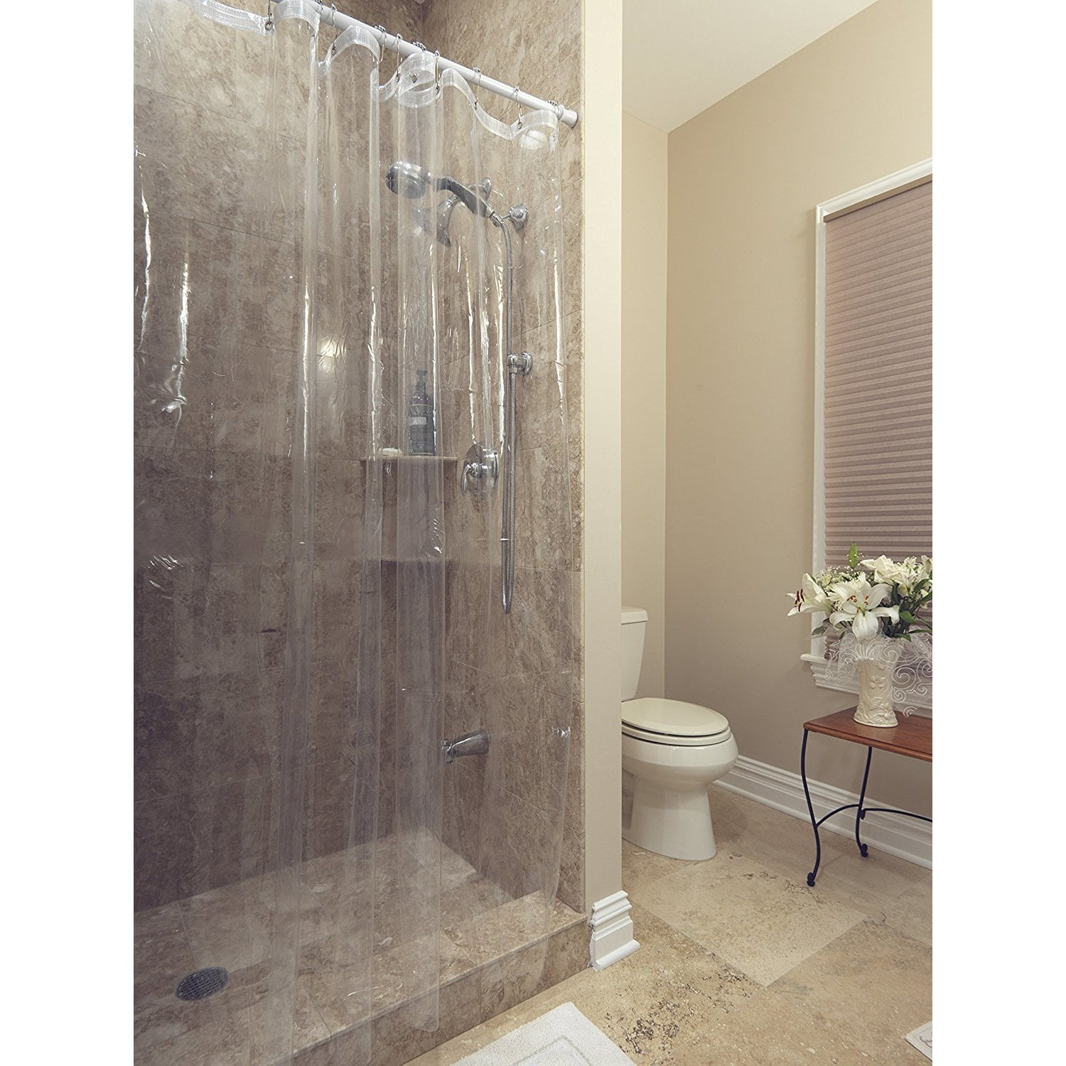 "72"" x 72"" Ottomanson Durable Heavy Duty 10 Gauge Clear Shower Curtain Liner with Rust Proof Metal Grommets"