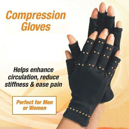Copper Compression Arthritis Gloves - Best Copper Infused Fit Glove for Women and Men. Carpal Tunnel, Computer Typing, and Everyday Support for Hands (1
