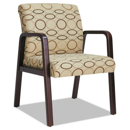 Alera Reception Lounge Series Guest Chair, Mahogany/Tan Fabric