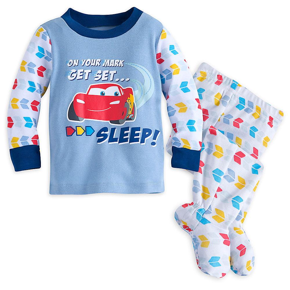 Disney Store Cars Lightning Mcqueen 2 PC Long Sleeve Pajama Set Size 4