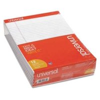 Universal Perforated Writing Pads, Wide/Legal Rule, 8.5 x 11.75, White, 50 Sheets, Dozen -UNV20630