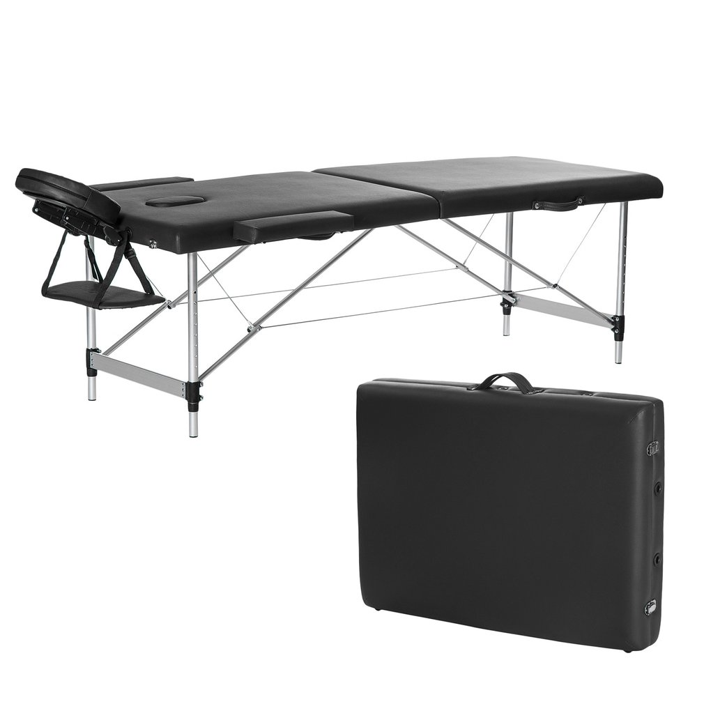 Portable Folding 2-Section Therapy Massage Bed Adjustable...