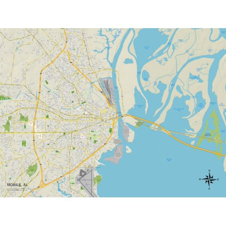 Political Map of Mobile, AL Print Wall Art ()