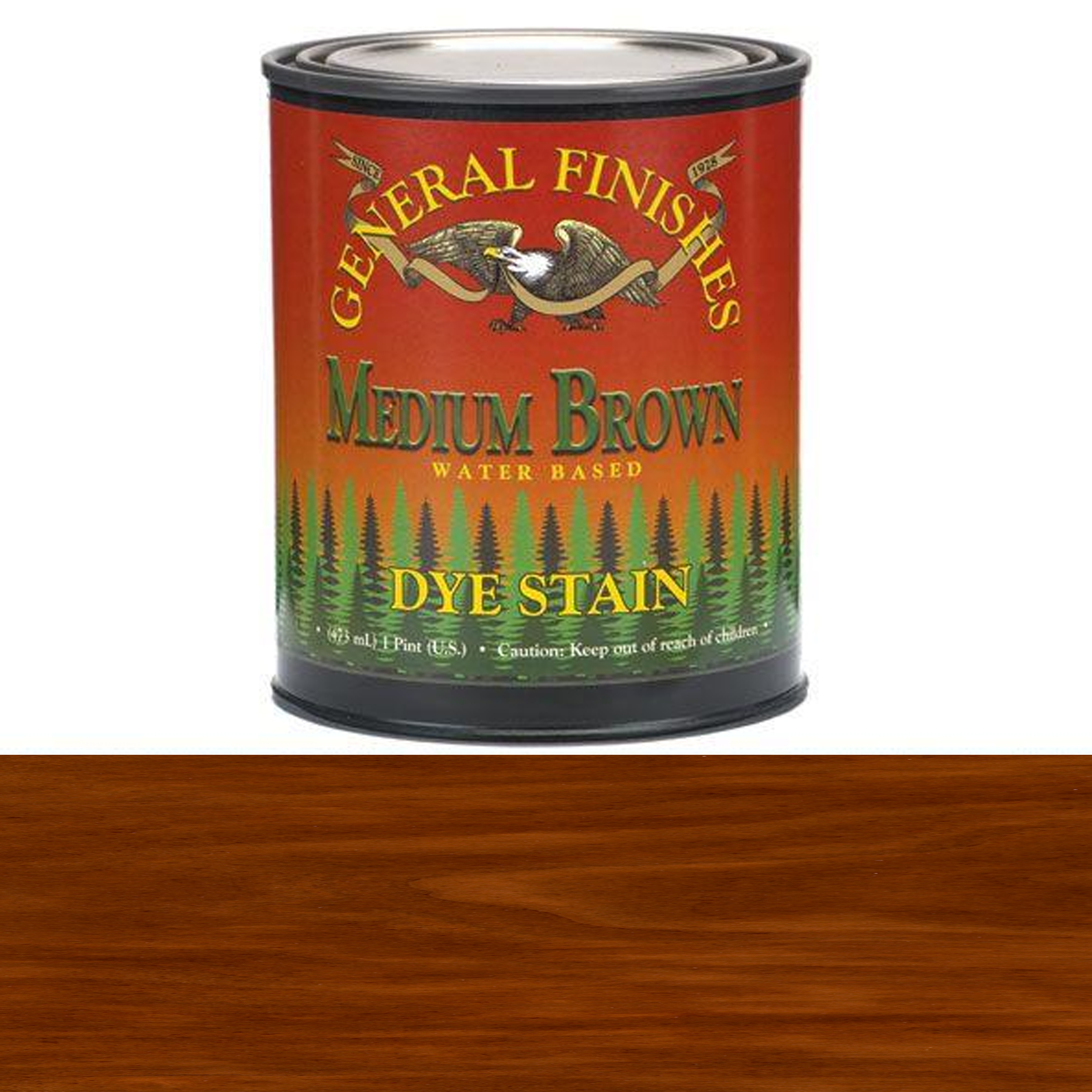 General Finishes, Dye Stains, Medium Brown, Pint