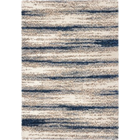 Adderley Talisman Area Rugs - 8309 Shag & Flokati White Fluffy Soft Banded Rows (Adderley Antique)