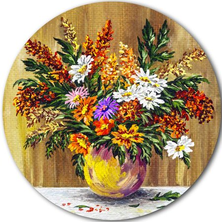 Design Art 'Wild Flowers in a Pot' Painting Print on (Best Pot Painting Designs)