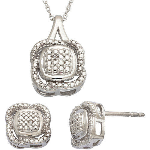Diamond Accent Sterling Silver Cushion-Shape Pendant and Earrings Set