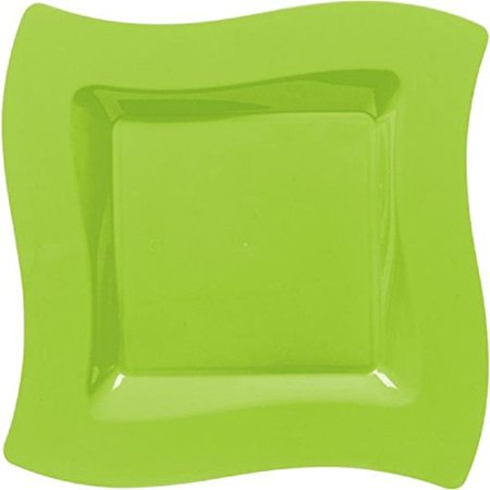 - Amscan Lime Green Wavy Square Plastic Dinner Plates (10)